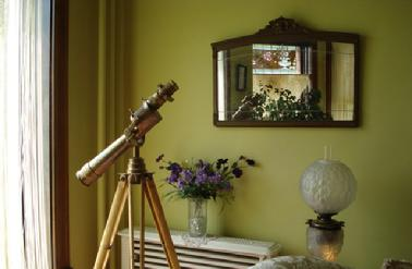 Get a close-up view of Galena through the antique brass telescope.